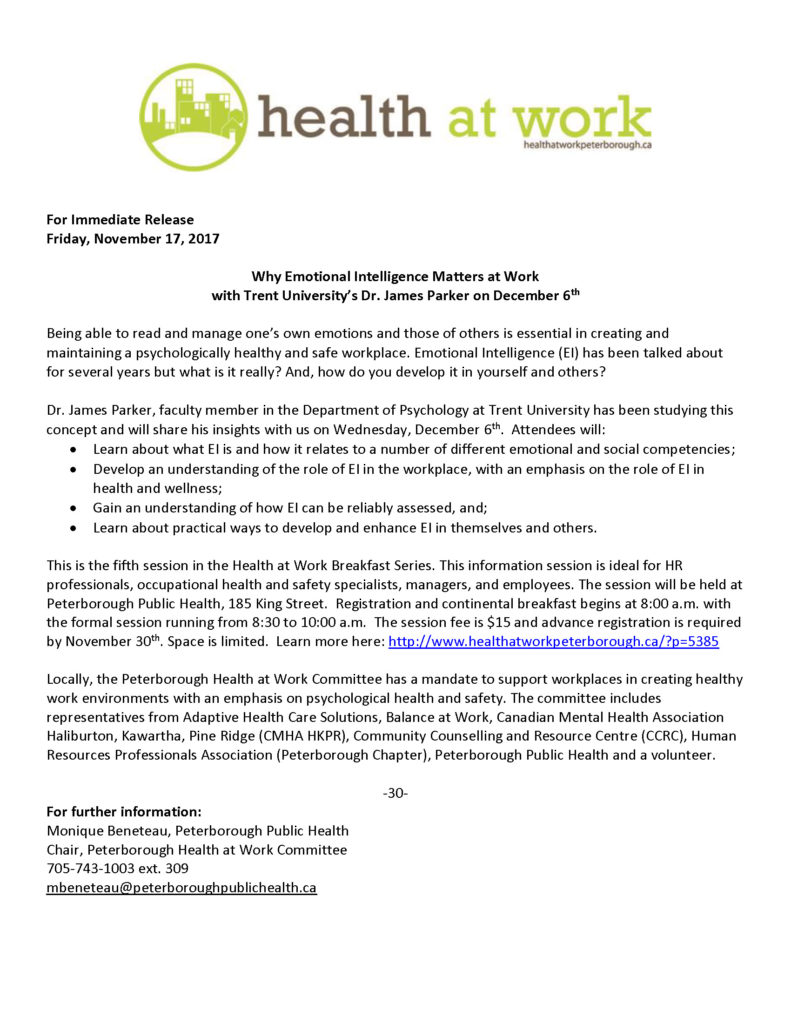 Health at Work media release
