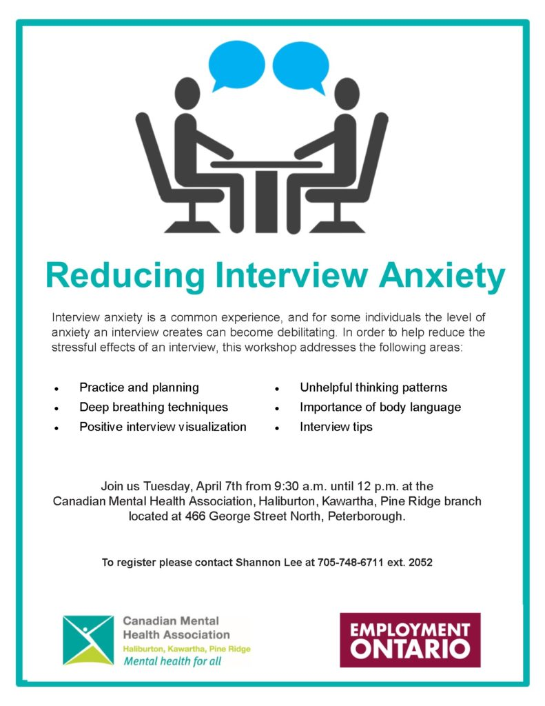 Reducing Interview Anxiety Workshop poster